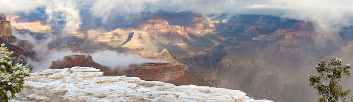 A dusting of snow at Yavapai Lookout, Grand Canyon National Park
